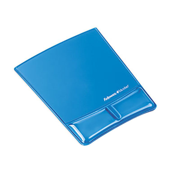 Fellowes 9182201 Blue Mouse Pad with Gel Wrist Support and Microban Protection Main Image 1