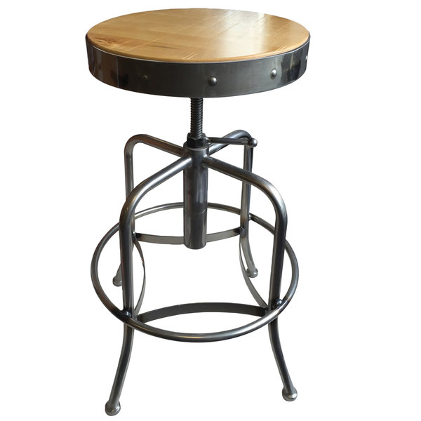 Holland Bar Stool 910CLNAT Clear Coat Steel Height Adjustable Stool with Natural Finish Seat Main Image 1