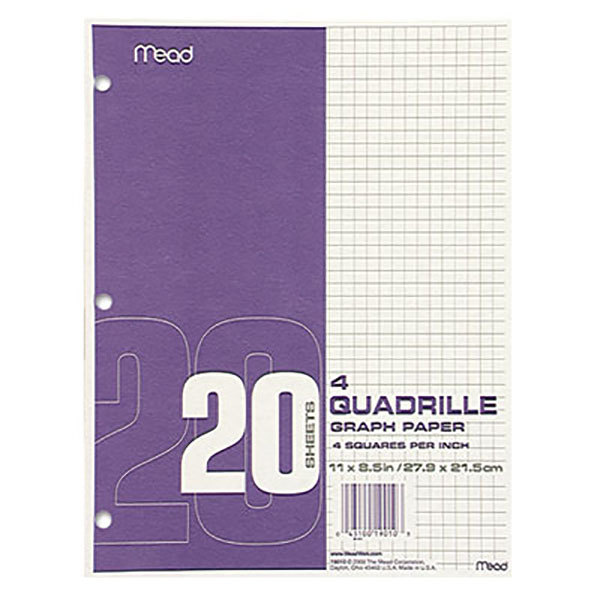 mead 19010 8 1 2 x 11 quadrille graph paper pad 12 pack