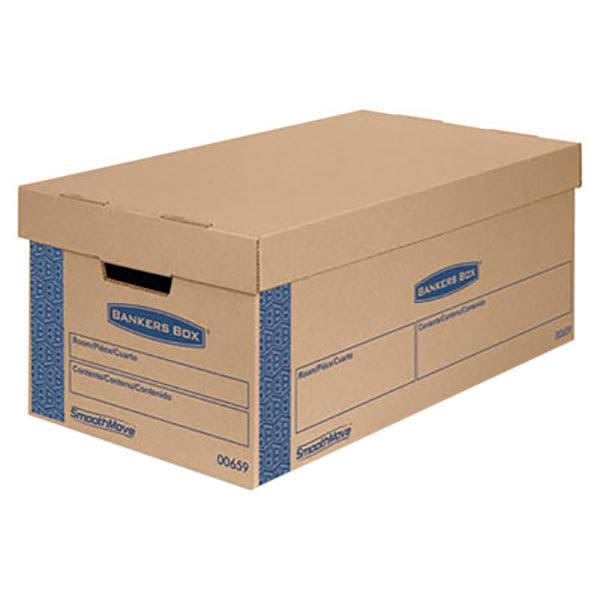"""Banker's Box 006590 SmoothMove Prime 24"""" x 12"""" x 10"""" Kraft / Blue Small Moving Box with Lift Lid - 8/Case Main Image 1"""