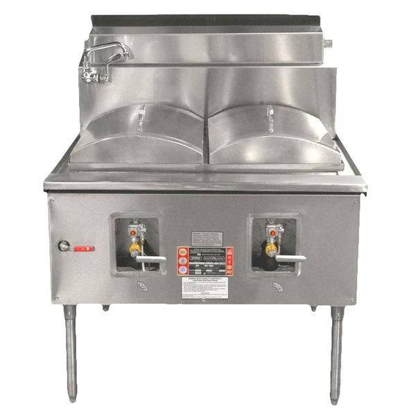 Town CF-2-P Liquid Propane Two Compartment Cheung Fun Noodle Range - 98,000 BTU Main Image 1