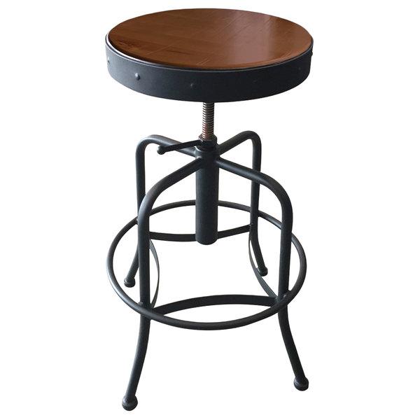 Holland Bar Stool 910BWMED Black Wrinkle Steel Height Adjustable Stool with Medium Finish Seat