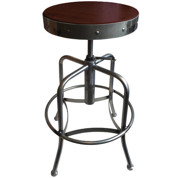 Holland Bar Stool 910CLDC Clear Coat Steel Height Adjustable Stool with Dark Cherry Finish Seat Main Image 1