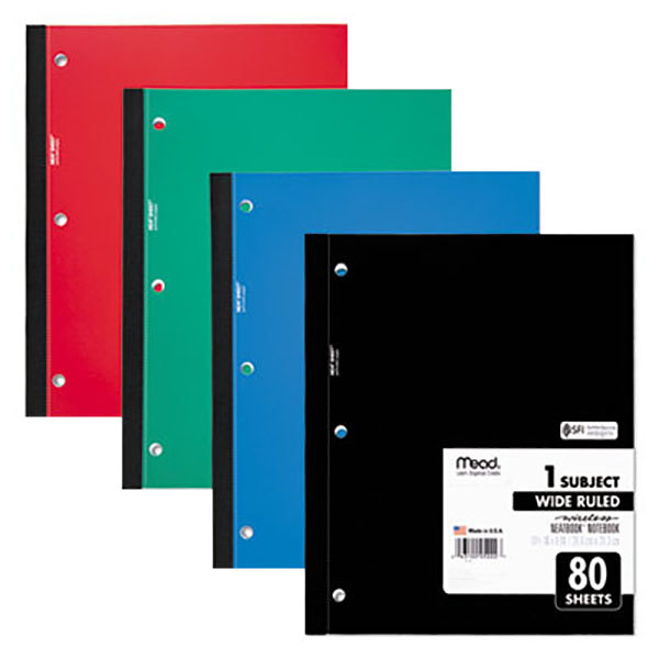 "Mead 05222 10 1/2"" x 8"" Assorted Color Neatbook Wide Rule 1 Subject Wireless Notebook - 80 Sheets"