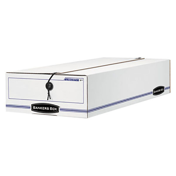 """Fellowes 00002 Banker's Box 9"""" x 23"""" x 4"""" Check / Deposit Slip Storage Box with String & Button Closure - 12/Case"""