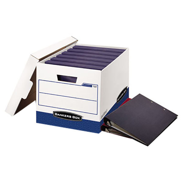 """Fellowes 0073301 12 1/4"""" x 18 1/2"""" x 12"""" White/Blue Binder Storage Box with Lift-Off Lid - 12/Case"""
