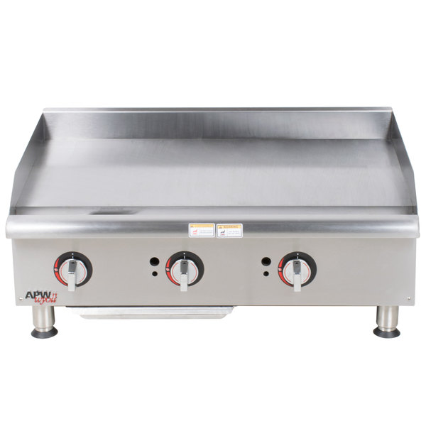 """APW Wyott GGM-36i Champion 36"""" Countertop Griddle with Manual Controls and 2 Safety Pilots - 75,000 BTU"""