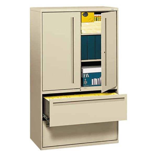 """HON 795LSL 700 Series Putty File Storage Cabinet with Two Lateral Filing Drawers - 42"""" x 19 1/4"""" x 67"""""""