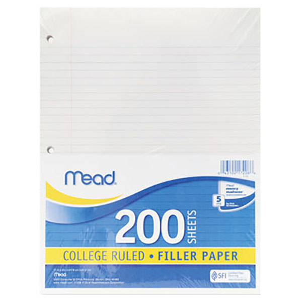 "Mead 17208 8 1/2"" x 11"" White Pack of College Rule Filler Paper - 200 Sheets Main Image 1"