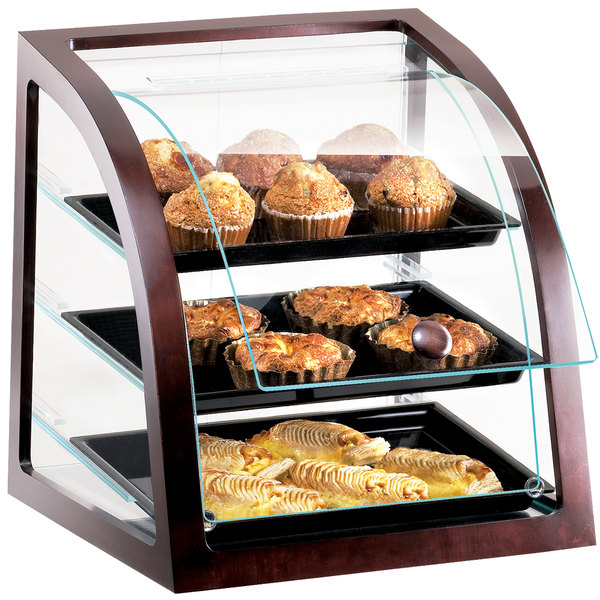 "Cal-Mil P255-52S Westport Three Tier Euro Style Wood Trim Display Case with Front Door - 17"" x 17""x 18"""