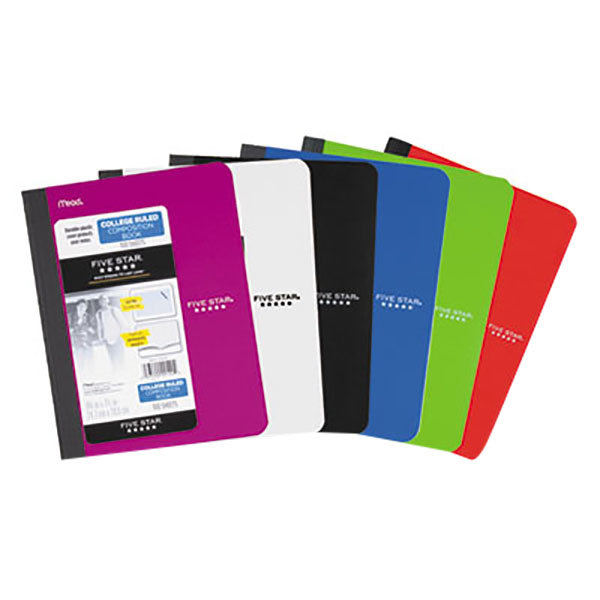 """Five Star 09120 9 3/4"""" x 7 1/2"""" Assorted Color College Rule 1 Subject Composition Book - 100 Sheets"""
