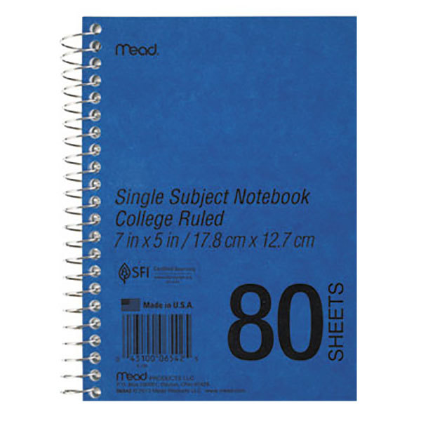 """Mead 06542 7"""" x 5"""" Blue College Rule 1 Subject DuraPress Cover Notebook - 80 Sheets"""