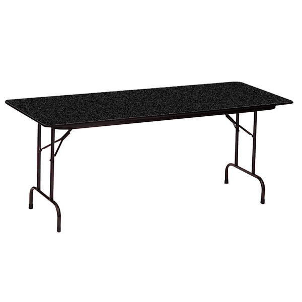 "Correll CF1872PX07 18"" x 72"" Rectangular Black Granite High Pressure Heavy Duty Folding Table"
