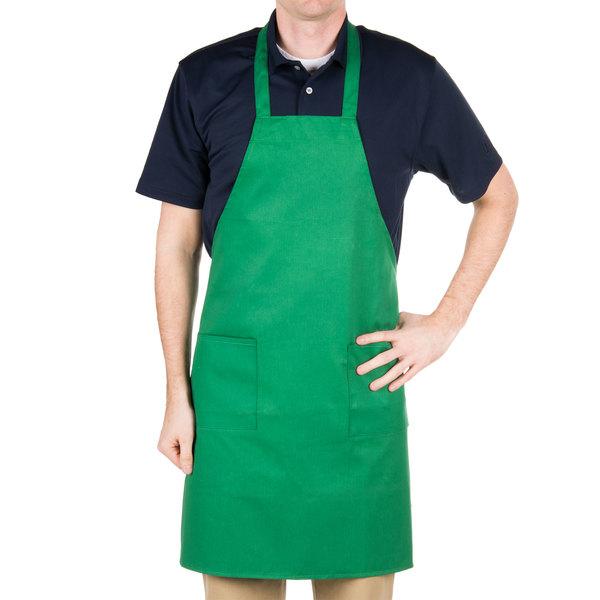 "Choice Kelly Green Full Length Bib Apron with Pockets - 34"" x 32""W"
