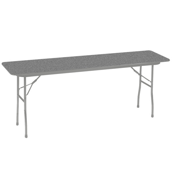 "Correll CF1896PX15 18"" x 96"" Rectangular Gray Granite High Pressure Heavy Duty Folding Table"