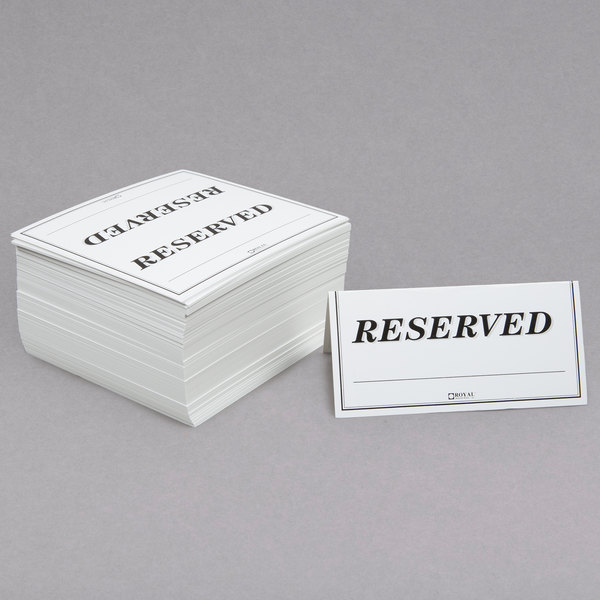 Simple /& Modern Print Ready Minimalist Double-Sided Tent Fold Reserved Sign Instant Download