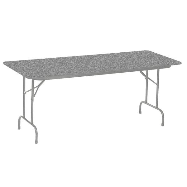"Correll CF1872PX15 18"" x 72"" Rectangular Gray Granite High Pressure Heavy Duty Folding Table"