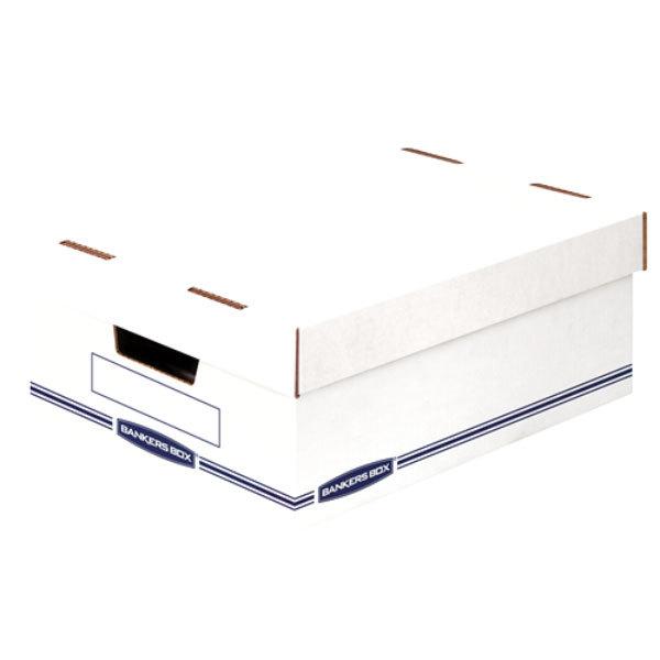 """Banker's Box 466230 16 1/2"""" x 12 3/4"""" x 6 1/2"""" White / Blue Large Organizer Storage Box - 12/Case"""