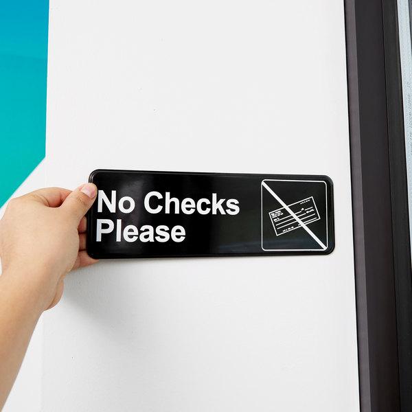 """Vollrath 4520 Traex® No Checks Please Sign - Black and White, 9"""" x 3"""""""