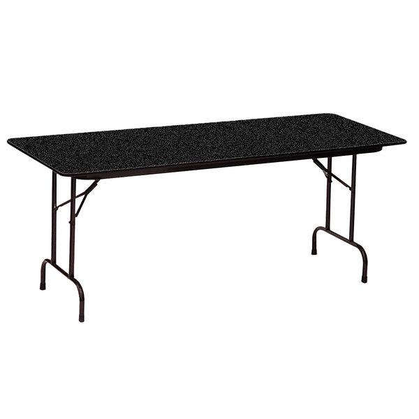 "Correll CF2448PX07 24"" x 48"" Rectangular Black Granite High Pressure Heavy Duty Folding Table"