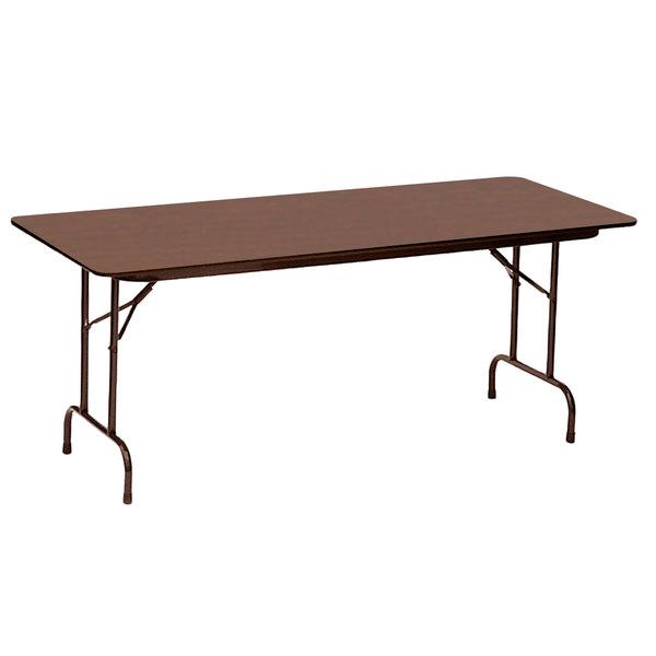 "Correll CF2472PX01 24"" x 72"" Rectangular Walnut High Pressure Heavy Duty Folding Table"