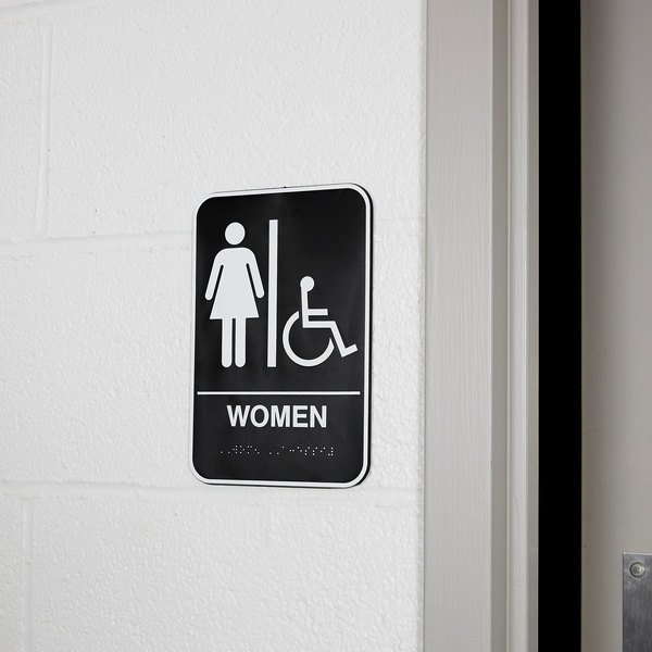 """Vollrath 5630 Traex® Handicap Accessible Women's Restroom Sign with Braille - Black and White, 6"""" x 9"""""""