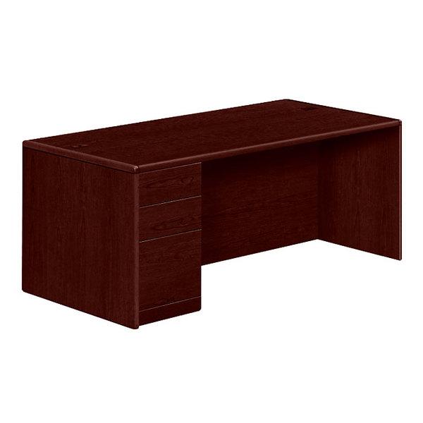 "HON 10788LNN 10700 Series 72"" x 36"" x 29 1/2"" Mahogany Left Full Height Single Pedestal Desk Main Image 1"