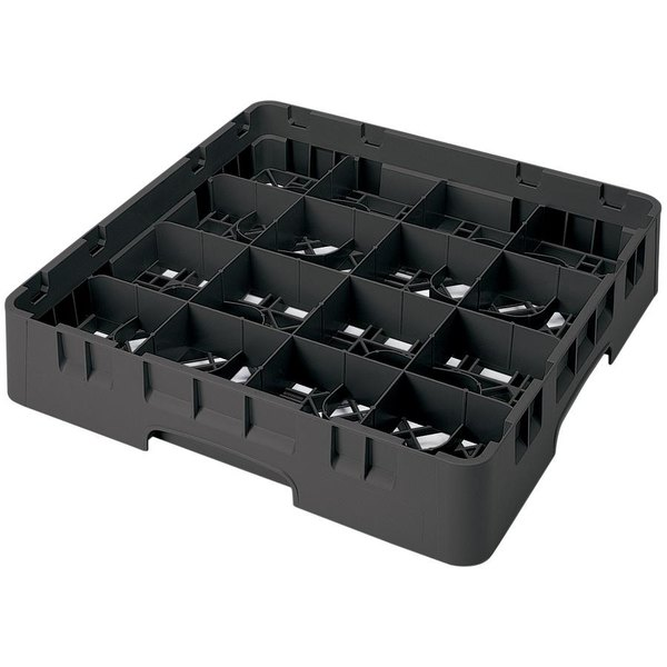 "Cambro 16S1114110 Camrack 11 3/4"" High Customizable Black 16 Compartment Glass Rack"