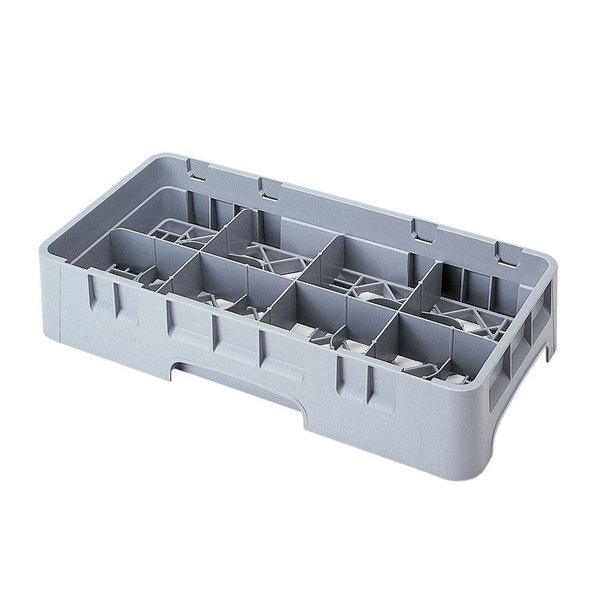 "Cambro 8HS800151 Soft Gray Camrack Customizable 8 Compartment Half Size 8 1/2"" Glass Rack"