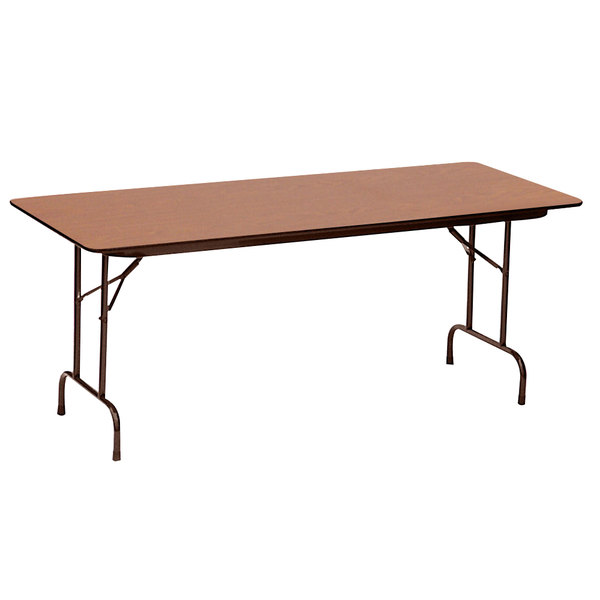 "Correll CF3060PX06 30"" x 60"" Rectangular Medium Oak High Pressure Heavy Duty Folding Table Main Image 1"