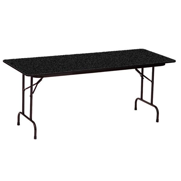 "Correll CF3060PX07 30"" x 60"" Rectangular Black Granite High Pressure Heavy Duty Folding Table Main Image 1"