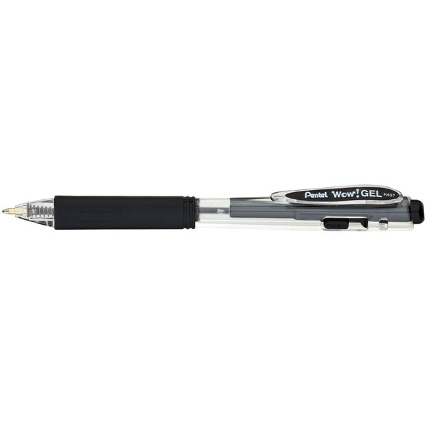 Pentel K437A WOW! Black Ink with Translucent Barrel 0.7mm Retractable Gel Pen - 12/Pack Main Image 1