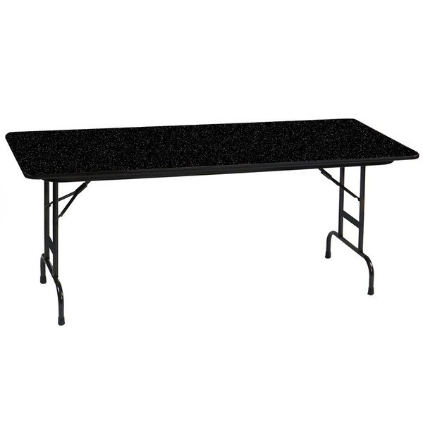 "Correll CFA3096PX07 30"" x 96"" Rectangular Black Granite High Pressure Heavy Duty Adjustable Folding Table"