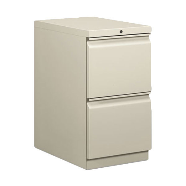 "HON 33823RQ Efficiencies Light Gray Two-Drawer Mobile Pedestal Filing Cabinet - 15"" x 22 7/8"" x 28"" Main Image 1"