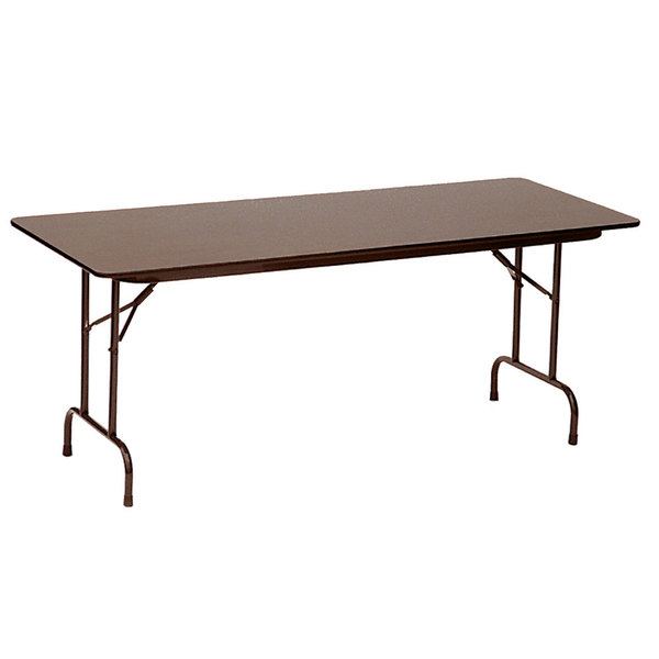 "Correll CF3672PX01 36"" x 72"" Rectangular Walnut High Pressure Heavy Duty Folding Table"