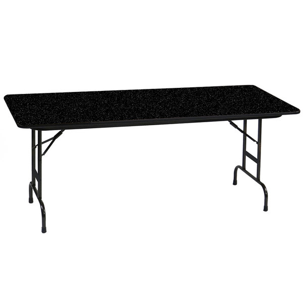 "Correll CFA3072PX07 30"" x 72"" Rectangular Black Granite High Pressure Heavy Duty Adjustable Folding Table"