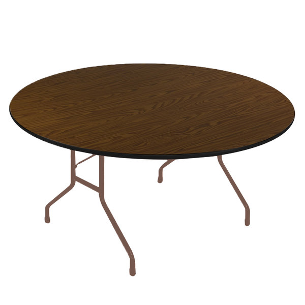 "Correll CF48PX01 48"" Round Walnut High Pressure Heavy Duty Folding Table Main Image 1"