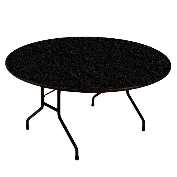 "Correll CF60PX07 60"" Round Black Granite High Pressure Heavy Duty Folding Table Main Image 1"