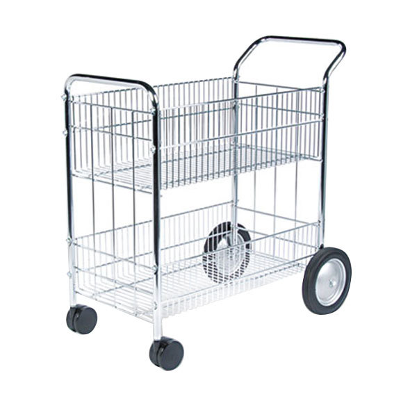 "Fellowes 40912 21 1/2"" x 37 1/2"" x 39 1/2"" Chrome Two-Shelf Wire Mail Cart"