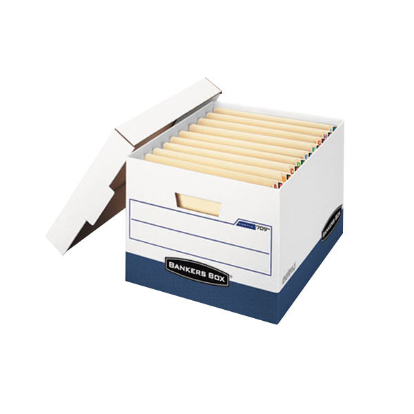 """Bankers Box 00709 12 3/4"""" x 15 1/2"""" x 10"""" White/Blue Letter/Legal Sized Max Lock Storage Box with Lift-Off Lid - 12/Case"""