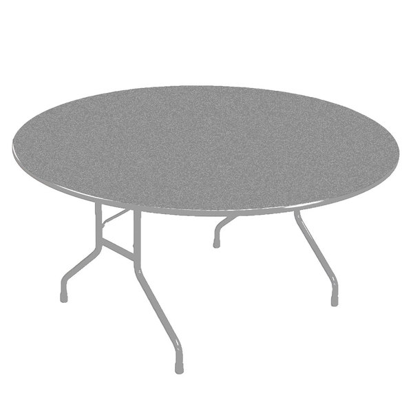 "Correll CF60PX15 60"" Round Gray Granite High Pressure Heavy Duty Folding Table"