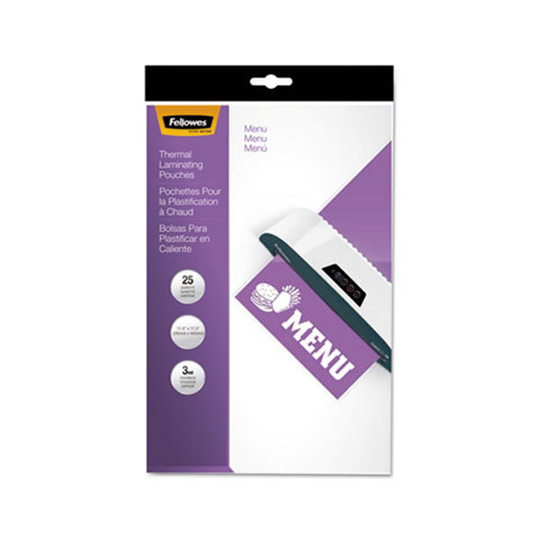 """Fellowes 52011 18"""" x 12"""" Menu Glossy Thermal Laminating Pouch - 25/Pack"""