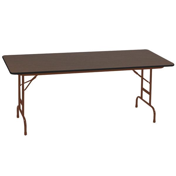 "Correll CFA3060PX01 30"" x 60"" Rectangular Walnut High Pressure Heavy Duty Adjustable Folding Table Main Image 1"