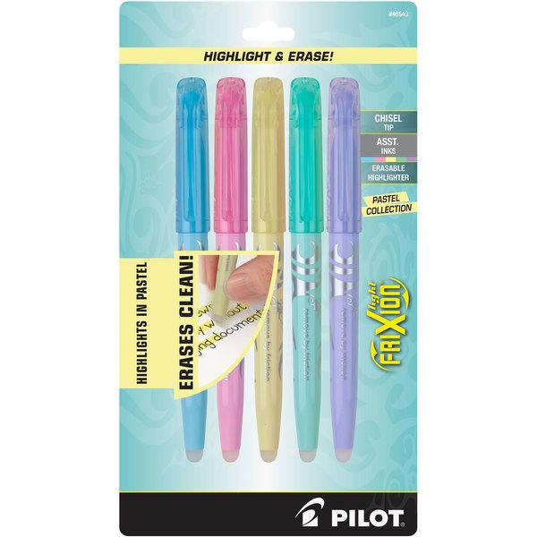 Pilot 46543 FriXion Light Pastel Chisel Tip Erasable Highlighter with Pocket Clip - 5/Pack