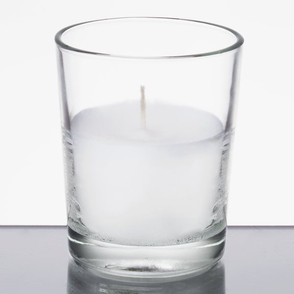 Leola 15 Hour Clear Wax Filled Glass Candle - 48/Case