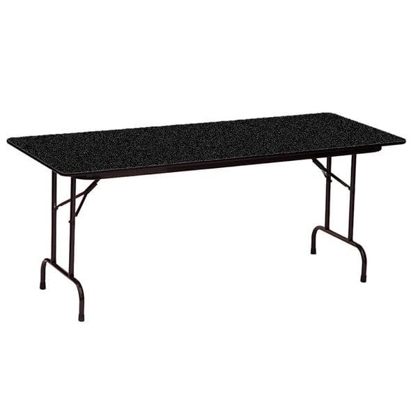 "Correll CF3696PX07 36"" x 96"" Rectangular Black Granite High Pressure Heavy Duty Folding Table"