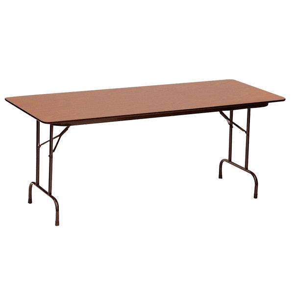 "Correll CF3672PX06 36"" x 72"" Rectangular Medium Oak High Pressure Heavy Duty Folding Table Main Image 1"