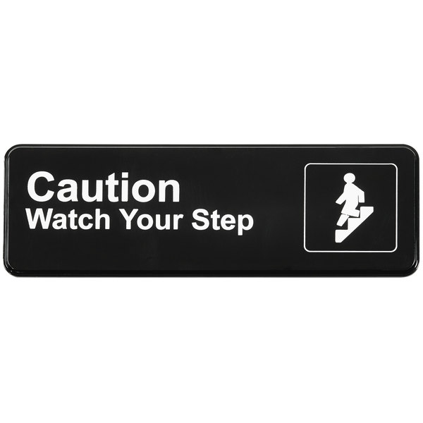 """Vollrath 4544 Traex® Caution Watch Your Step Sign - Black and White, 9"""" x 3"""" Main Image 1"""