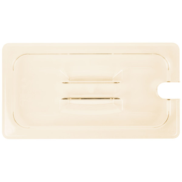 Cambro 30HPCHN150 H-Pan™ 1/3 Size Amber High Heat Handled Flat Lid with Spoon Notch Main Image 1