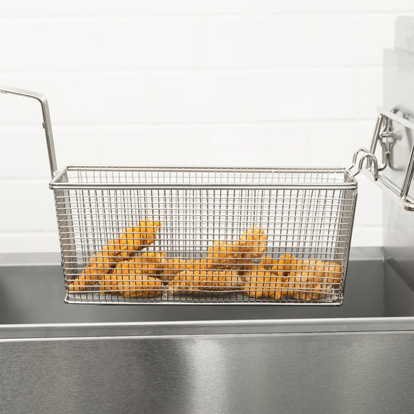 """13 1/4"""" x 5 1/2"""" x 5 11/16"""" Fryer Basket with Front Hook"""